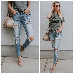 Denim - New light wash distressed skinny jeans